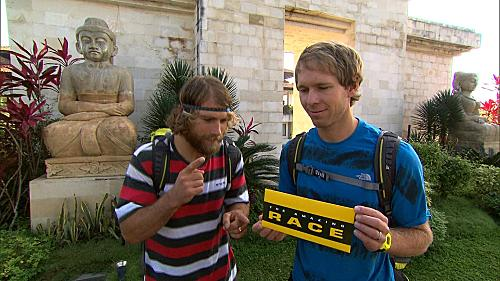 """This Is Going to Be A Fine Mess""--Pro Snowboarders Andy (left) and Tommy (right) read their first clue at the start of the fourth leg of THE AMAZING RACE, Sunday, Oct. 16 (8:00-9:00 PM, ET/PT) on the CBS Television Network. Photo: Best Possible Screen Grab/CBS ©2011 CBS Broadcasting, Inc. All Rights Reserved"